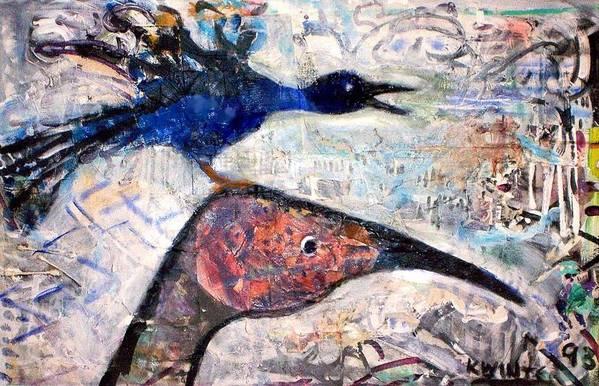 Birds Art Print featuring the mixed media Bird On Bird by Dave Kwinter