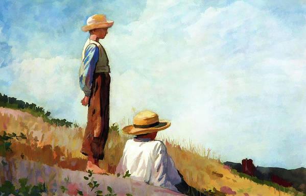 Landscape Art Print featuring the painting Blue Boy by D Fessenden