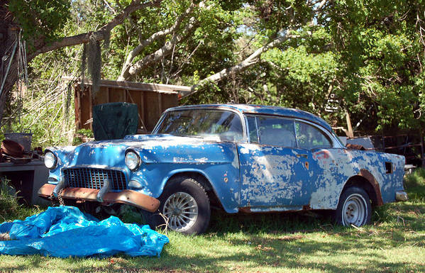 Cars Art Print featuring the photograph Blue Car On The Bayou by Heather S Huston