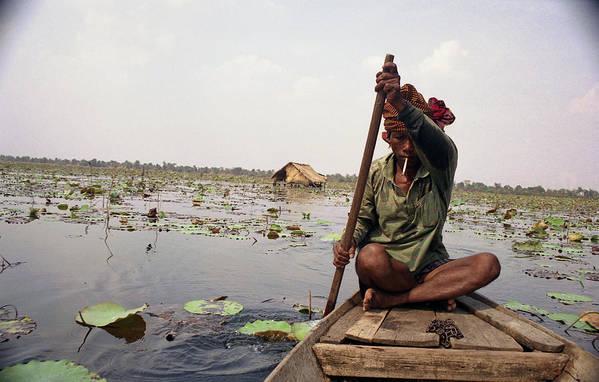 Cambodia Art Print featuring the photograph Boatman - Battambang by Patrick Klauss