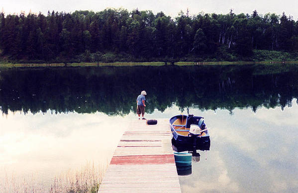 Lake Art Print featuring the photograph Boy On The Dock Ae by Lyle Crump