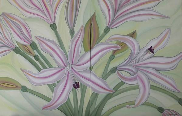 Marinella Owens Art Print featuring the painting Brunsvigia Grandiflora by Marinella Owens