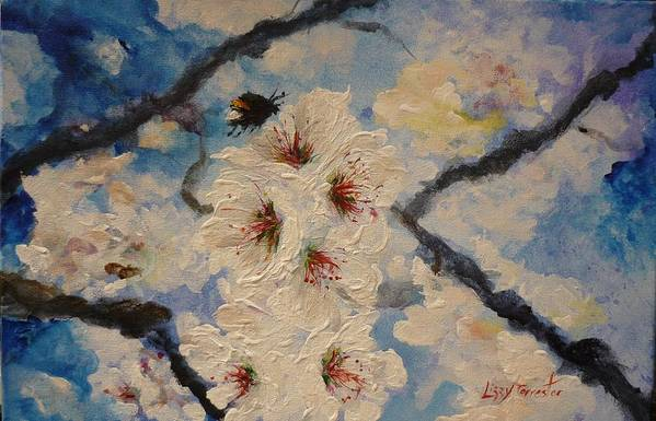 Bumble Bee Art Print featuring the painting Busy Bumble Bee And Blossom. by Lizzy Forrester