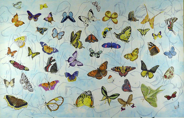 Butterflies Art Print featuring the painting Butterflies by Ying Wong