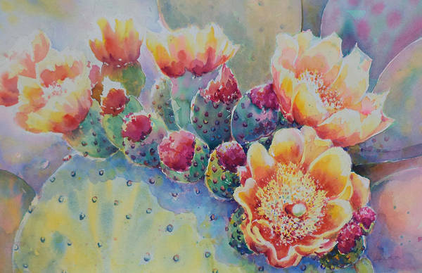 Prickley Pear Art Print featuring the painting Cactus Flowers by Victoria Wills