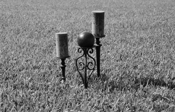 Black And White Print featuring the photograph Candles In Grass by Rob Hans