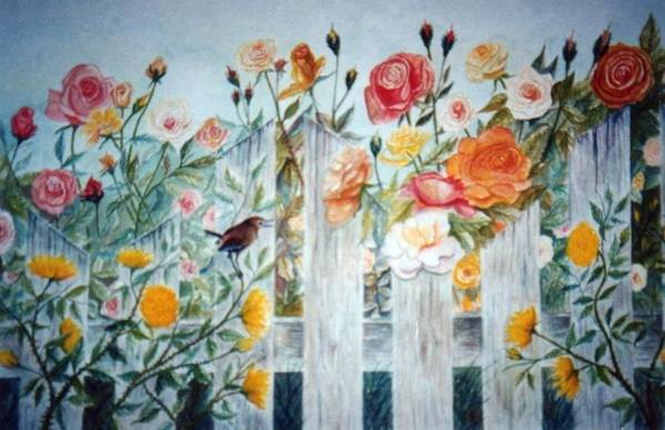 Roses; Flowers; Sc Wren Art Print featuring the painting Carolina Wren And Roses by Ben Kiger