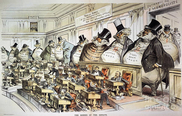 1889 Print featuring the photograph Cartoon: Anti-trust, 1889 by Granger