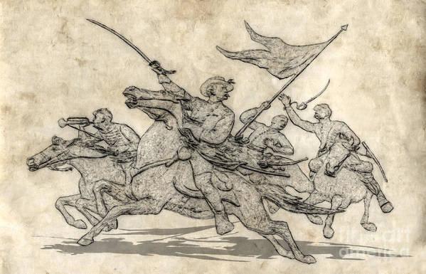 Cavalry Charge Gettysburg Sketch Art Print featuring the digital art Cavalry Charge Gettysburg Sketch by Randy Steele