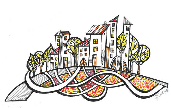 Houses Art Print featuring the drawing Connections by Aniko Hencz