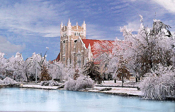 Winter Art Print featuring the photograph Country Club Christian Church by Steve Karol