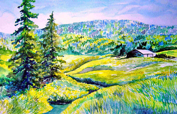 Arkansas Creek And Cottage Art Print featuring the painting Creek To The Cabin by Joanne Smoley