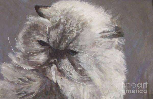 Himalayan Cat Art Print featuring the painting Cynthia by Elizabeth Ellis