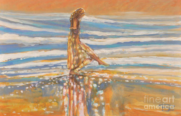 Dancing Art Print featuring the painting Dancing In The Surf by Kip Decker