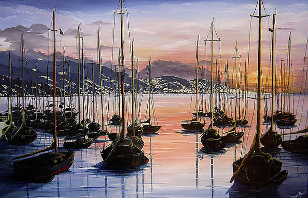 Seascape Painting Yacht Painting Harbour Painting Port Of Spain Trinidad And Tobago Painting Caribbean Painting Tropical Seascape Yachts  Painting Boats Dawn Breaking Greeting Card Painting Art Print featuring the painting Daybreak by Karin Dawn Kelshall- Best