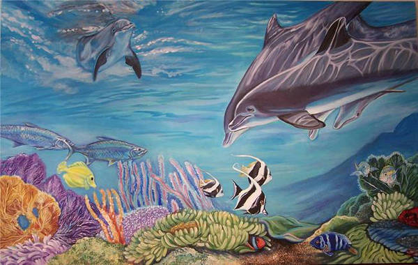 Underwater Scene Art Print featuring the painting Dolphin Pod by Diann Baggett