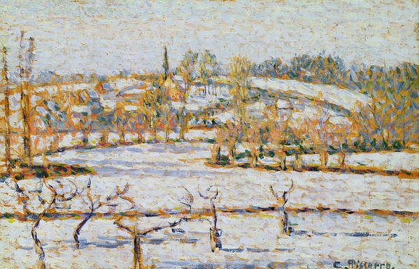 Effect Art Print featuring the painting Effect Of Snow At Eragny by Camille Pissarro