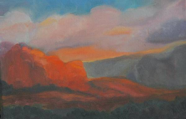 Landscape Art Print featuring the painting Evening In Sedona by Stephanie Allison