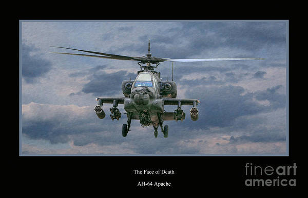 Apache Sunset Art Print featuring the digital art Face Of Death Ah-64 Apache Helicopter by Randy Steele