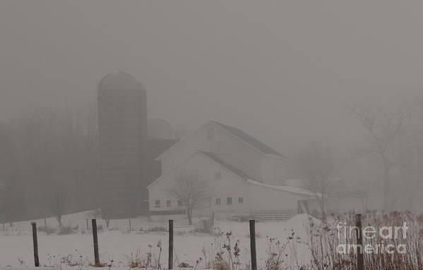 Farm Art Print featuring the photograph Farm In Fog by David Bearden