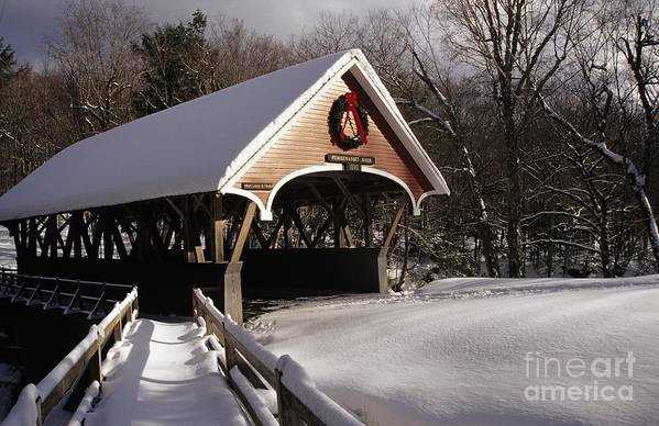 Franconia Notch State Park Art Print featuring the photograph Flume Covered Bridge - Lincoln New Hampshire Usa by Erin Paul Donovan
