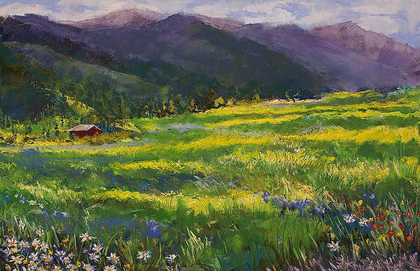 Forgotten Field Art Print featuring the pastel Forgotten Field by David Patterson