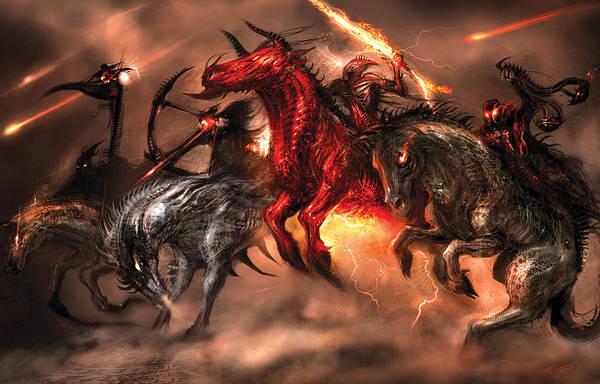 Concept Art Art Print featuring the digital art Four Horsemen by Alex Ruiz