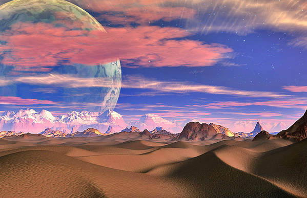 David Jackson Ghost World Alien Landscape Planets Scifi Art Print featuring the digital art Ghost World by David Jackson