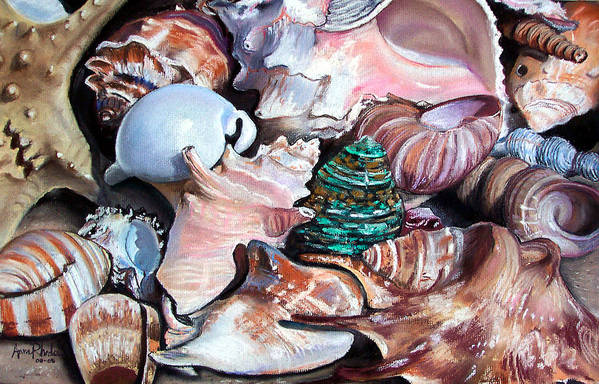 Seashells Art Print featuring the painting Green Shell by Anne Rhodes