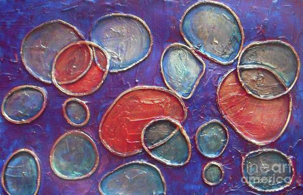 Circles Art Print featuring the painting Happy Bubbles by Vesna Antic