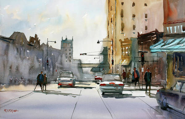 Ryan Radke Art Print featuring the painting Heading West On College Avenue - Appleton by Ryan Radke