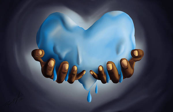 Heart Of Water Art Print featuring the painting Heart Of Water by Kenal Louis
