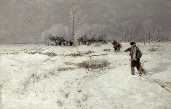 Hunting Print featuring the painting Hunting In The Snow by Hugo Muhlig
