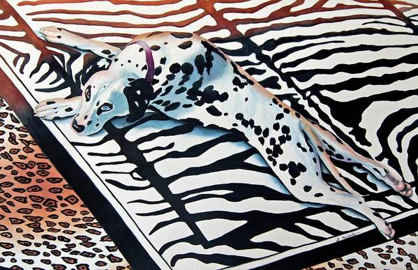 Animal/dog/dalmatian Art Print featuring the painting Incognito by Gail Zavala
