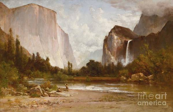 Thomas Hill Art Print featuring the painting Indians Fishing In Yosemite by MotionAge Designs