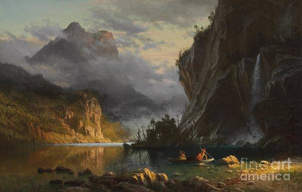 Landscape; Romantic; Romanticist; America; North America; American; North American;landscape; Rural; Countryside; Wilderness; Scenic; Picturesque; Atmospheric; Indians; Native American; Native Americans; American Indian; American Indians; Lake; River; Dramatic; Clouds; Mountains; Mountainous; Western; Rugged; Cliffs; Beach; Boat; Fishing; Spear; Spears; Waterfall Art Print featuring the painting Indians Spear Fishing by Albert Bierstadt