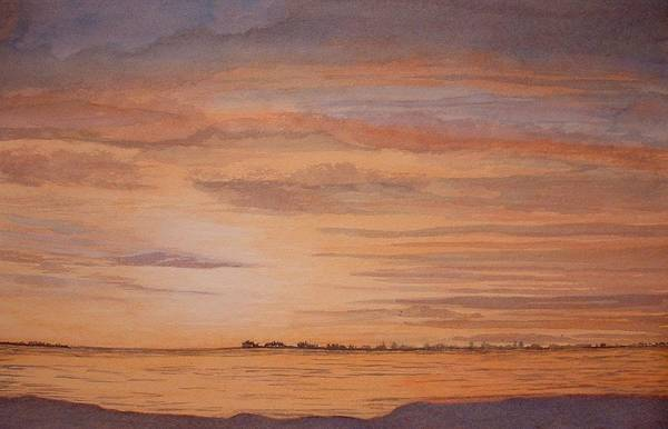 Landscape Art Print featuring the painting January Sunrise by Lynn ACourt