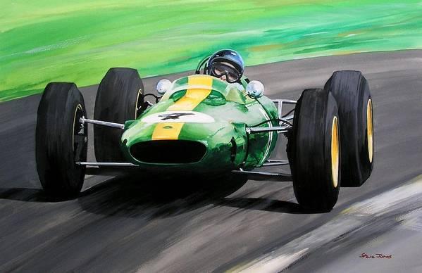 Original Motorsport Painting Art Print featuring the painting Jim Clark Lotus 25 by Steve Jones