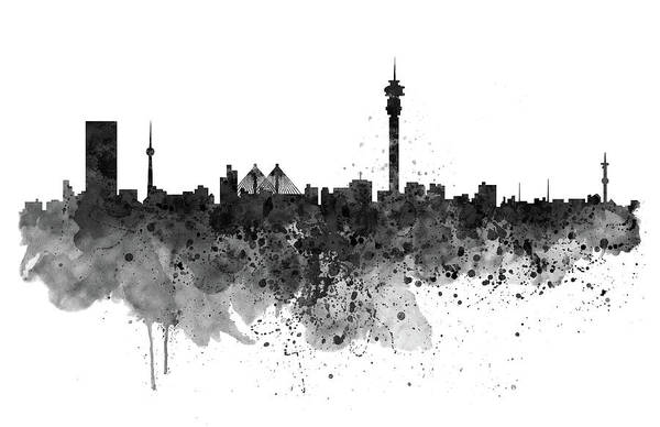 Johannesburg art print featuring the digital art johannesburg black and white skyline by marian voicu
