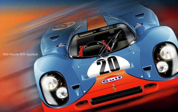 John Wyer's Gulf Porsche 917 Art Print featuring the digital art John Wyer's Gulf Porsche 917 by Alain Jamar