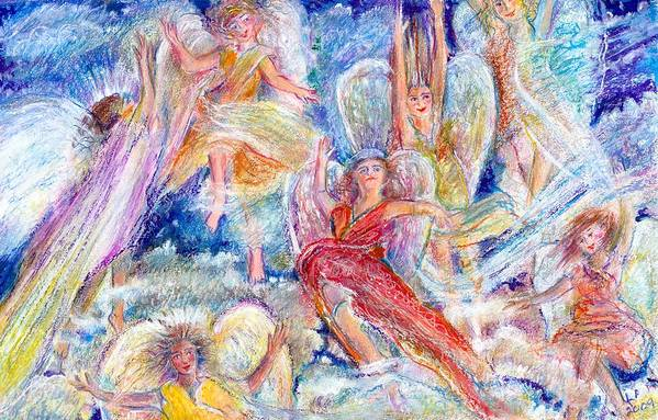 Angels;joy;christmas;guardian Angels;clouds Art Print featuring the painting Jumping For Joy Angels by Laurie Parker