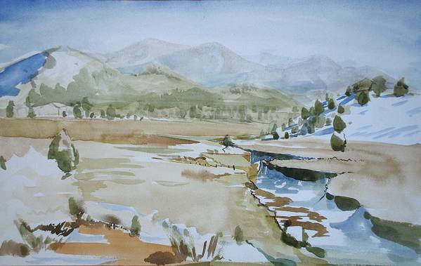 Blue Landscape High Desert Trees Brown Tan Mountains California Art Print featuring the painting Kennedy Meadows Half In Winter by Amy Bernays