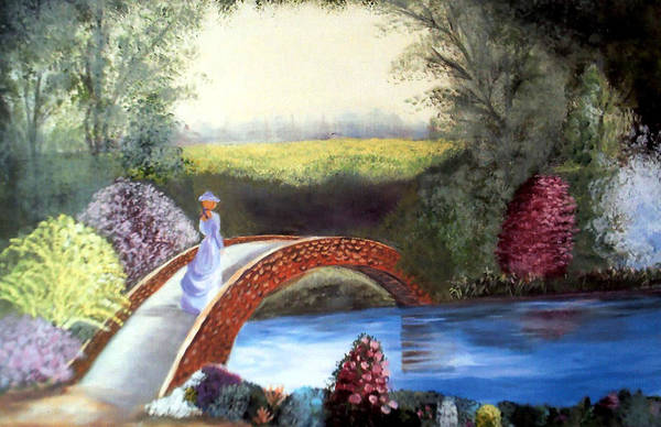 Landscape Art Print featuring the painting Lady On The Bridge by Julie Lamons