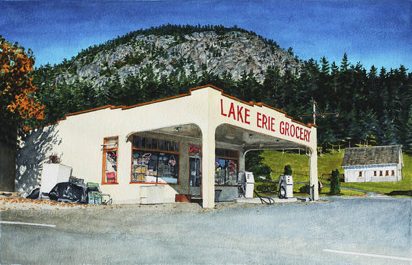 Landscape Art Print featuring the painting Lake Erie Grocery by Perry Woodfin