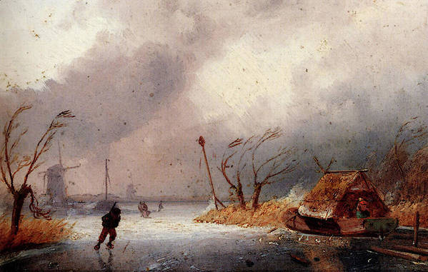 Leickert Art Print featuring the digital art Leickert Charles A Winter Landscape With Skaters On A Frozen Waterway by PixBreak Art