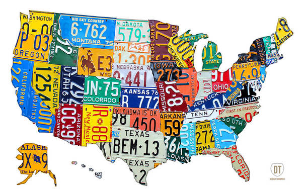 License Plate Map Art Print featuring the mixed media License Plate Map Of The United States Outlined by Design Turnpike