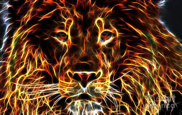 Lion Art Print featuring the digital art Lion King by Drazen Kirchmayer