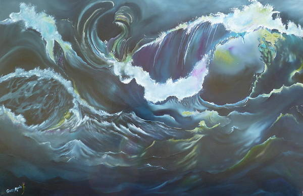 Ocean Art Print featuring the painting Liquid Lights by Gwen Rose