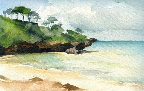 Landscape Art Print featuring the painting Mombasa Beach by Stephanie Aarons