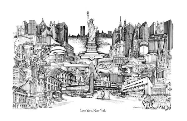 City Drawing Art Print featuring the drawing New York by Dennis Bivens